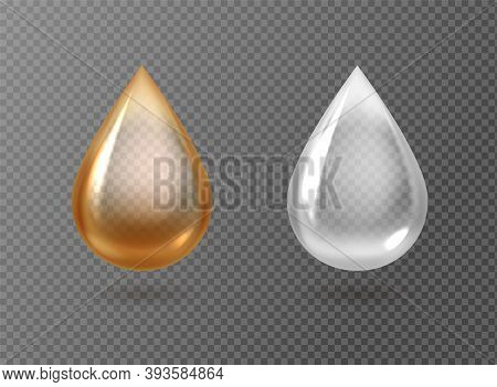 Realistic Oil And Cream Drops. Golden And White Droplets Isolated On Transparent Background, Gasolin