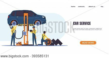 Car Diagnostics Landing Page. Automobile Repair, Oil Change And Parts Replacement, Vehicle Service C