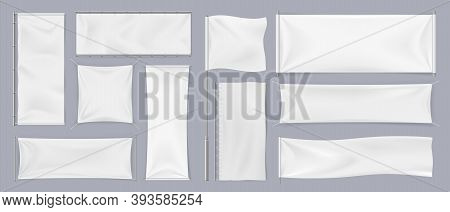 Textile Banners. Realistic White Blank Flags, Empty Canvas Template. Collection Of Horizontal And Ve