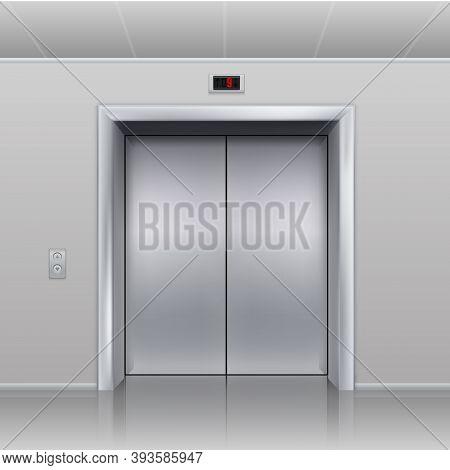 Realistic Elevator. Closed Metallic Cabin Doors. Hall Interior, Empty Building Office Or Hotel Vesti