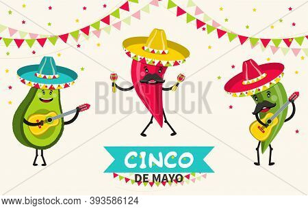 Funny Avocado And Hot Pepper Characters. Cinco De Mayo Mexican Holiday. Vector Illustration.