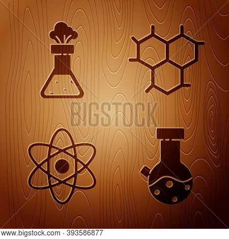 Set Test Tube And Flask Chemical, Test Tube And Flask Chemical, Atom And Chemical Formula On Wooden