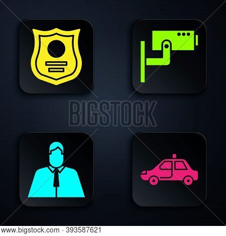 Set Police Car And Flasher, Police Badge, Lawyer, Attorney, Jurist And Security Camera. Black Square