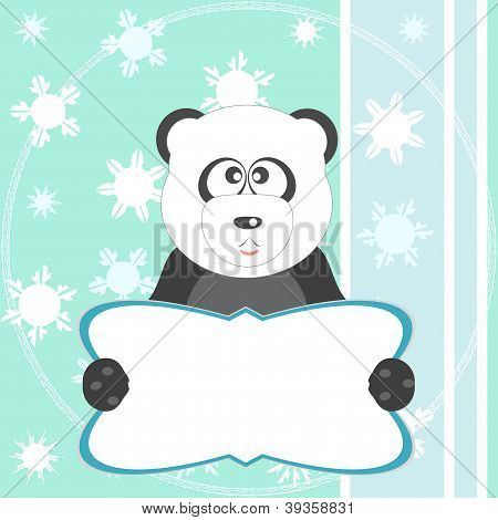 Baby Winter Background With Funny Young Teddy Bear Panda