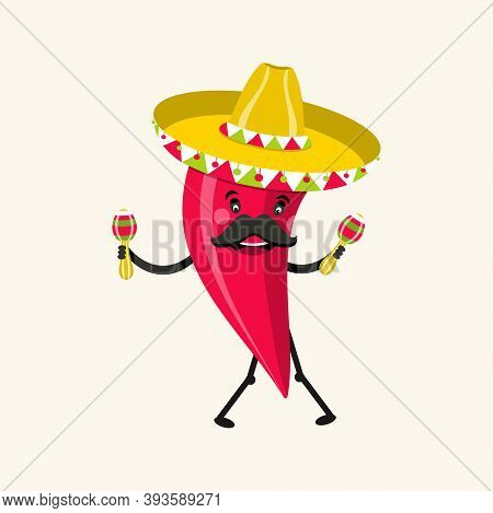 Funny Hot Pepper Characters. Cinco De Mayo Mexican Holiday. Vector Illustration.