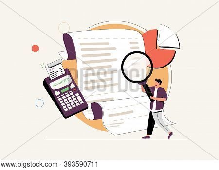 Man Looking Through Magnifying Glass At Bill, Check Or Invoice. Concept Of Accounting And Auditing S