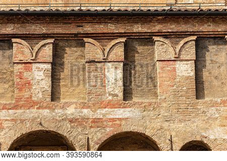 Closeup Of The Bologna City Hall, Ancient Accursio Palace, Xiii Century, With The Battlements (merlo