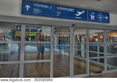 Prague, Czech Republic - 08.01.2016 : Airport Of Prague Interior. International Airport Of Prague Is