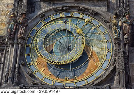 Czech Republic, Prague, 22,03,2015 Detail Of The Historical Medieval Astronomical Clock In Prague On
