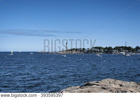 The Marblehead Light Tower Within Chandler Hovey Park In Marblehead Massachusetts On Sunny Blue Sky