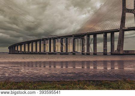 Vasco Da Gama Bridge, In Lisbon, Portugal