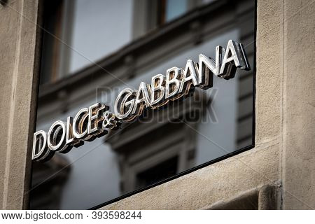 Florence, Italy - Aug 3, 2020: Closeup Of The Dolce & Gabbana Corporate Logo Above The Shop Window O