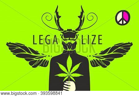 Vector Banner For Marijuana Legalization. Creative Illustration Of A Mysterious Man With The Head An