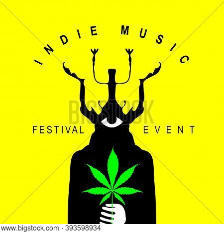 Indie Music Festival Poster With A Mysterious Creature With A One Eye And Beetle Head Holding A Cann