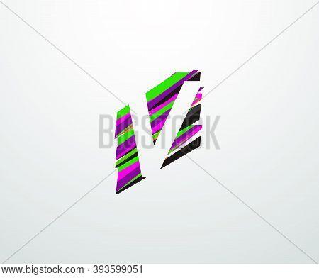 Letter V Logo. Abstract V Letter Design, Made Of Various Geometric Shapes In Color.
