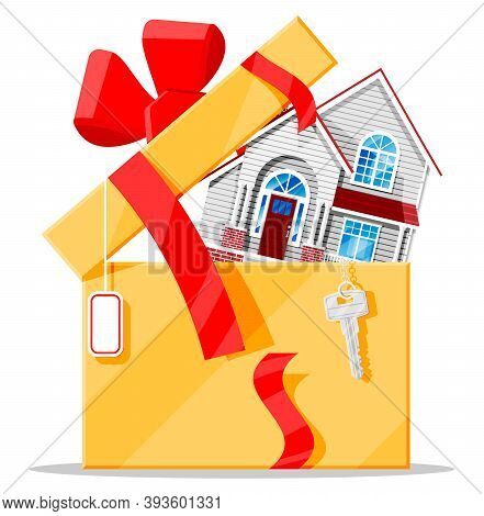Suburban Family House In Gift Box With Key, Ribbon And Bow. Countryside Wooden House Building Presen