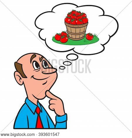 Thinking About Buying Local Produce - A Cartoon Illustration Of A Man Thinking About Buying Only Loc