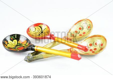 The Composition, The Subject For The Kitchen, Wooden Spoons For Eating, White Background