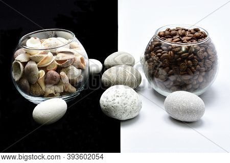Composition, Still Life, Glass With Coffee Grain, Glass With Shells, Sea Stones, Decoration Design,