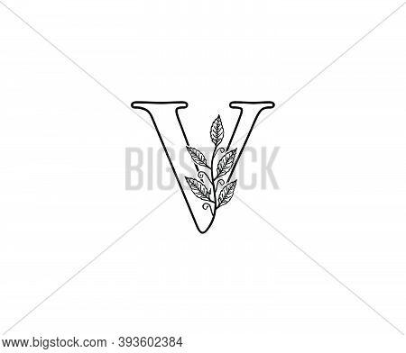 Initial V Letter With Leaves Line Shape Logo