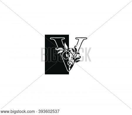 Initial V Letter With Leaves Line And Square Shape  Logo