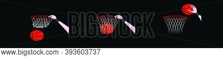 Set Of Dunk With Hand. Modern Cartoon Icon Design Template With Various Models. Vector Illustration