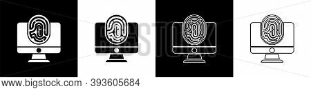 Set Monitor With Fingerprint Icon Isolated On Black And White Background. Id App Icon. Identificatio