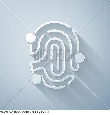 Paper Cut Fingerprint Icon Isolated On Grey Background. Id App Icon. Identification Sign. Touch Id.