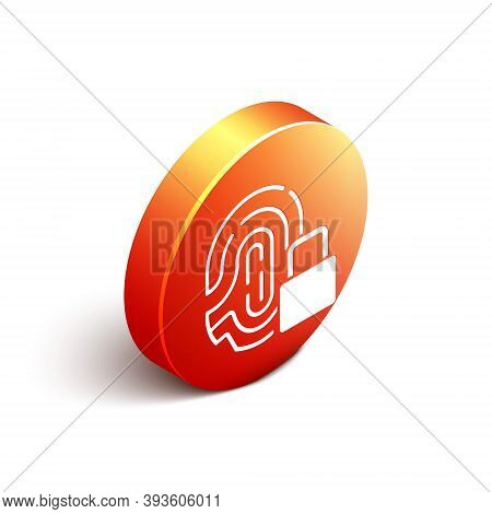 Isometric Fingerprint With Lock Icon Isolated On White Background. Id App Icon. Identification Sign.