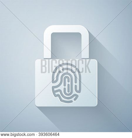Paper Cut Fingerprint With Lock Icon Isolated On Grey Background. Id App Icon. Identification Sign.