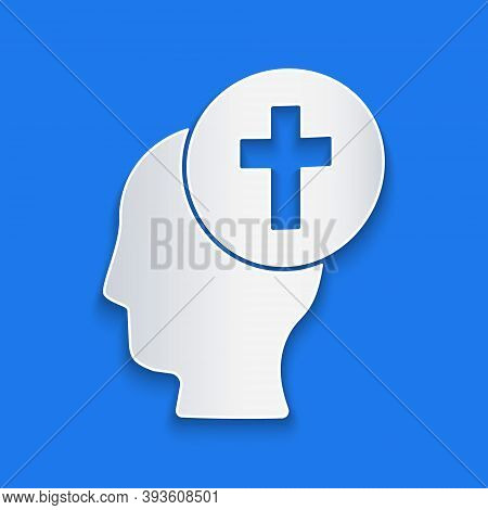 Paper Cut Man Graves Funeral Sorrow Icon Isolated On Blue Background. The Emotion Of Grief, Sadness,