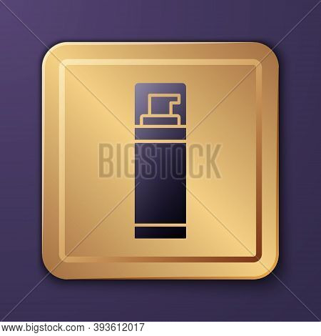 Purple Shaving Gel Foam Icon Isolated On Purple Background. Shaving Cream. Gold Square Button. Vecto