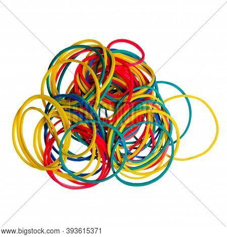 Stationery Rubber Bands On White Background Isolation, Top View
