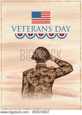 Illustration Of Army Memorial Happy Veterans Day Usa Honoring All Who Served For United States Of Am
