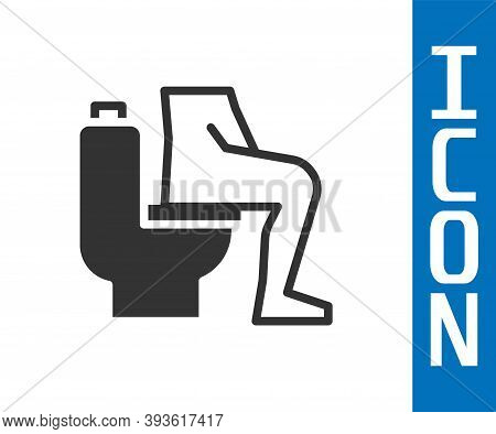 Grey Men Sitting On The Toilet And Constipation Are Experiencing Severe Abdominal Pain Icon Isolated