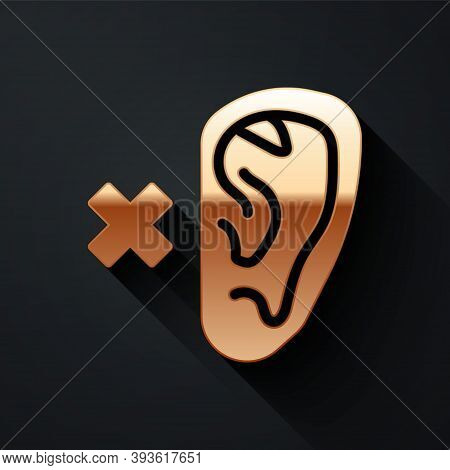 Gold Deafness Icon Isolated On Black Background. Deaf Symbol. Hearing Impairment. Long Shadow Style.