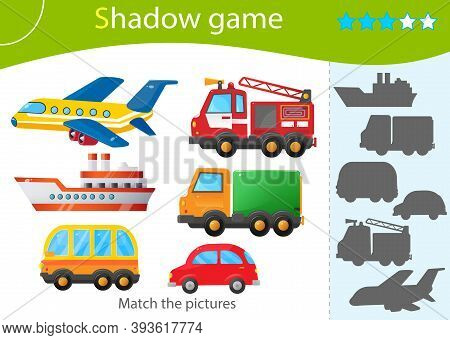 Shadow Game For Kids. Match The Right Shadow. Color Images Of Transportation Or Vehicle. Fire Truck,