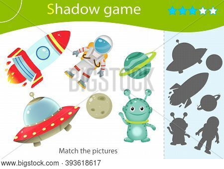 Shadow Game For Kids. Match The Right Shadow. Color Image Of Astronaut With Rocket, Of Aliens With F