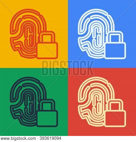 Pop Art Line Fingerprint With Lock Icon Isolated On Color Background. Id App Icon. Identification Si