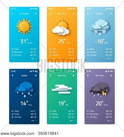 Weather Forecast App Widgets Set. Vector Illustration. Daily Application Template With Paper Cut Cli
