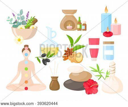 Ayurveda Medicine Cartoon Set, Ayurvedic Collection With Body Care Items, Natural Herbs, Flowers