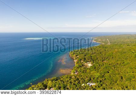 Green Island With Coral Reef. Coast Of Camiguin Island, Philippines, View From Above. Seascape In Su