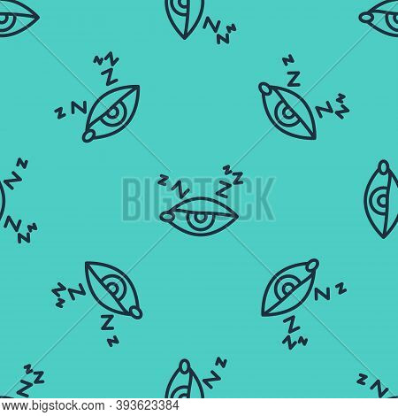Black Line Insomnia Icon Isolated Seamless Pattern On Green Background. Sleep Disorder With Capillar