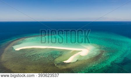 White Sandy Island With Coral Reefs.white Sandbar.atoll Near The Island Of Camiguin, Philippines, Ae