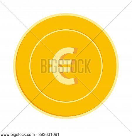 European Union Euro Coin Isolated On White Background. Eur Yellow Gold Coin. Europe Metal Money. Val