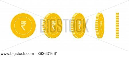 Indian Rupee Coins Set, Animation Ready. Inr Yellow Coins Rotation. India Metal Money In Different P