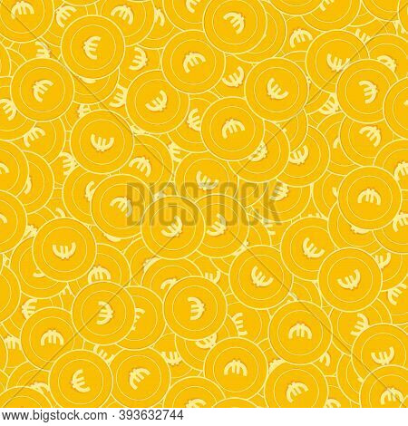 European Union Euro Coins Seamless Pattern. Vibrant Scattered Eur Coins. Big Win Or Success Concept.