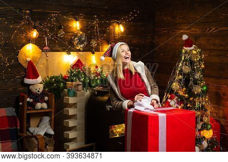 Beautiful Blonde Woman Received Gigantic Christmas Present Gift Box With Surprise Inside It. Christm