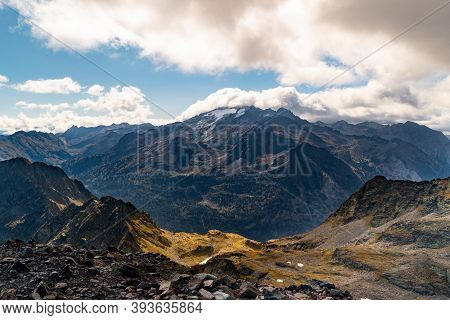 Views Of The Maladetas Massif With The Aneto And Maladeta Peaks And Aneto Glacier With Some Cloud Co