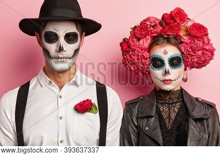 Dead Spooky Couple Celebrate Halloween Together, Organize Costume Party, Wear Traditional Mexican At